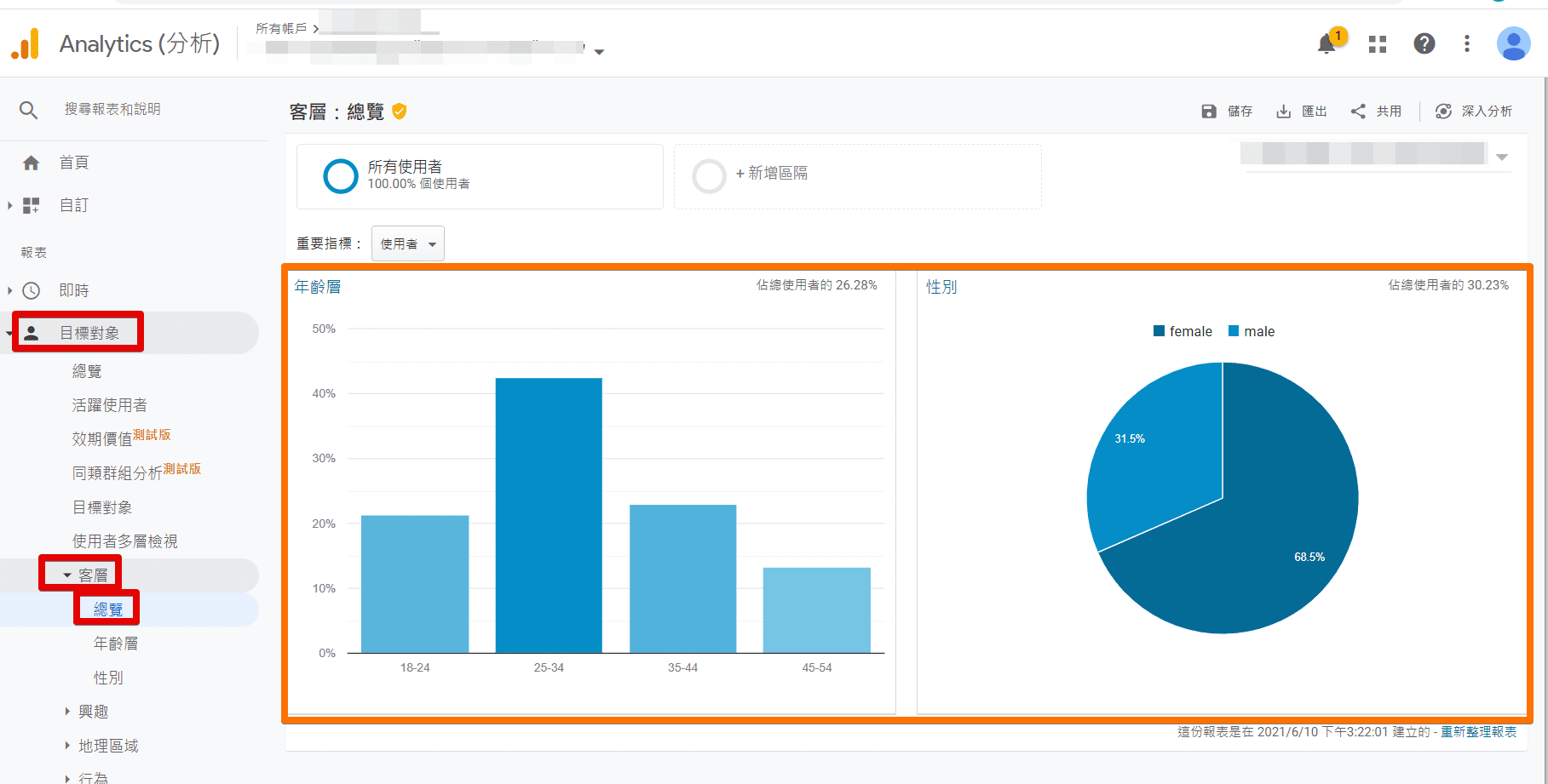 Analytics (分析) 客層