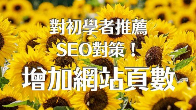 對初學者推薦SEO對策! 增加網站頁數