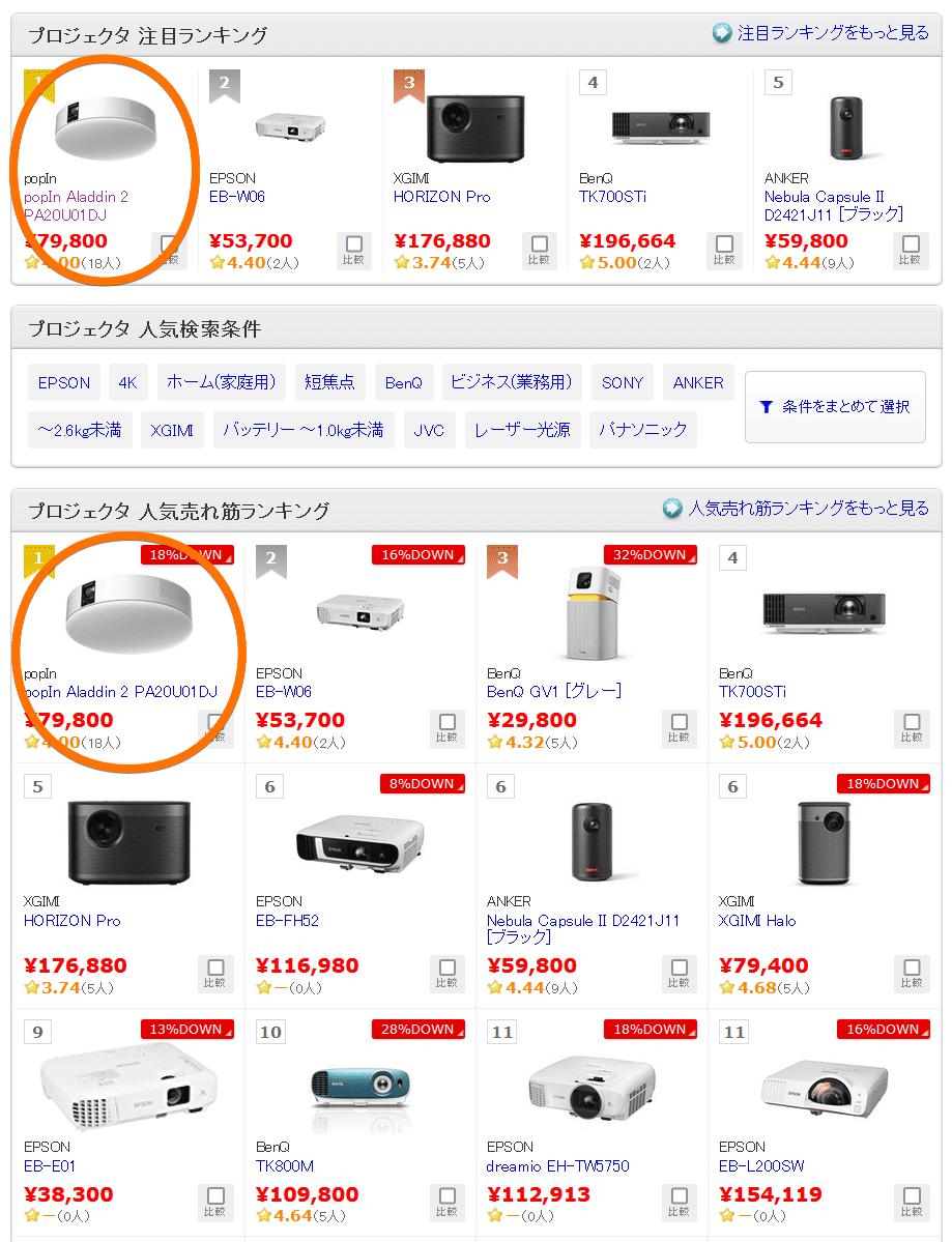 【価格.com】投影機